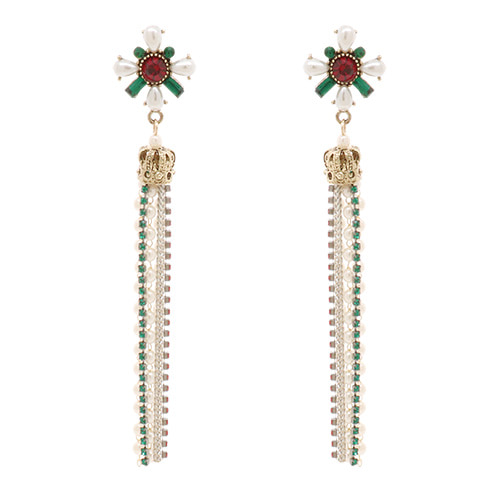 Coloration Flower Crown Drop Beads Earrings