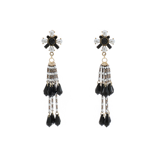Black Flower Beads Ball Earrings