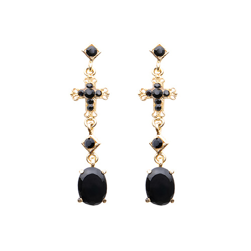 Black Onyx Crossed Drop Style Earrings