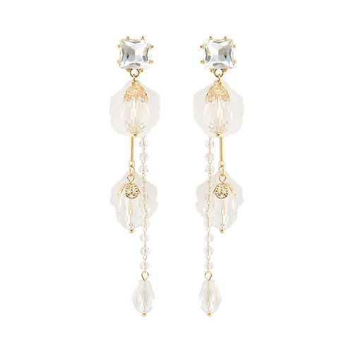Clear Clam Drop Earrings