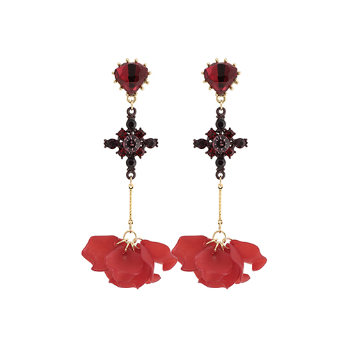 Antique Cross Red Petal Drop Earrings