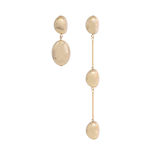 Unbalanced Gold Metal Pebble Drop Earrings