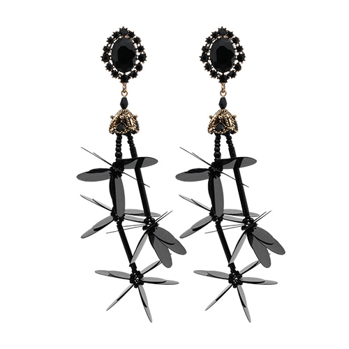 Black Spangle Cluster Earrings