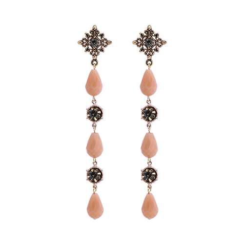 Antique Salmon Crystal Drop Earrings