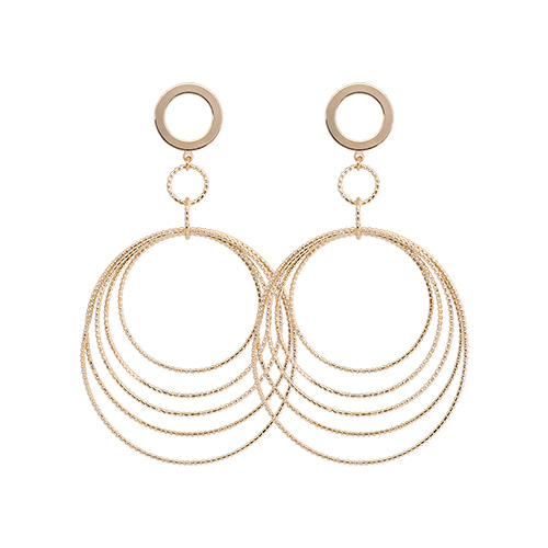 Gold Metal Wave Hoop Drop Earrings