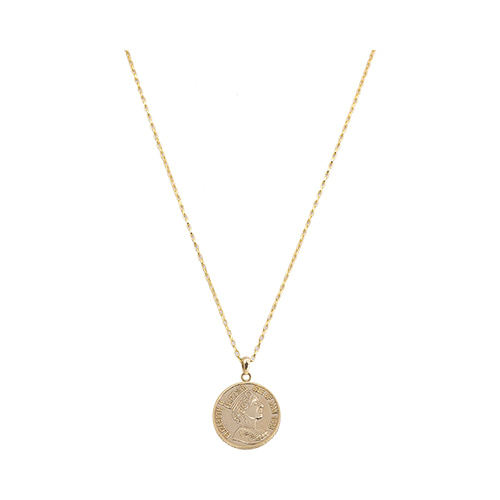[All 92.5 Silver] Gold Coin Long Necklace