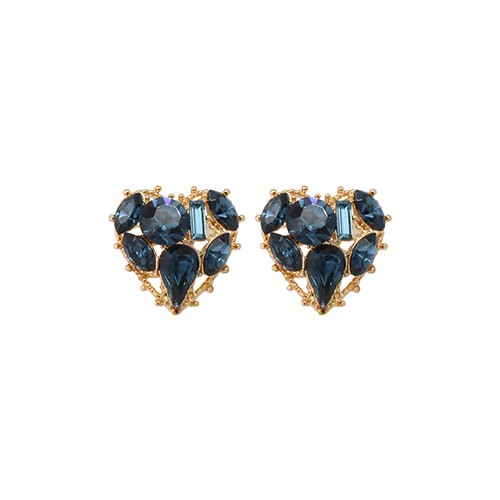 Navy Stone Heart Post Earrings