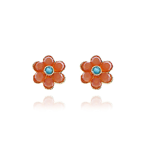 [92.5 Silver] Natural Gemstone Daisy Earrings