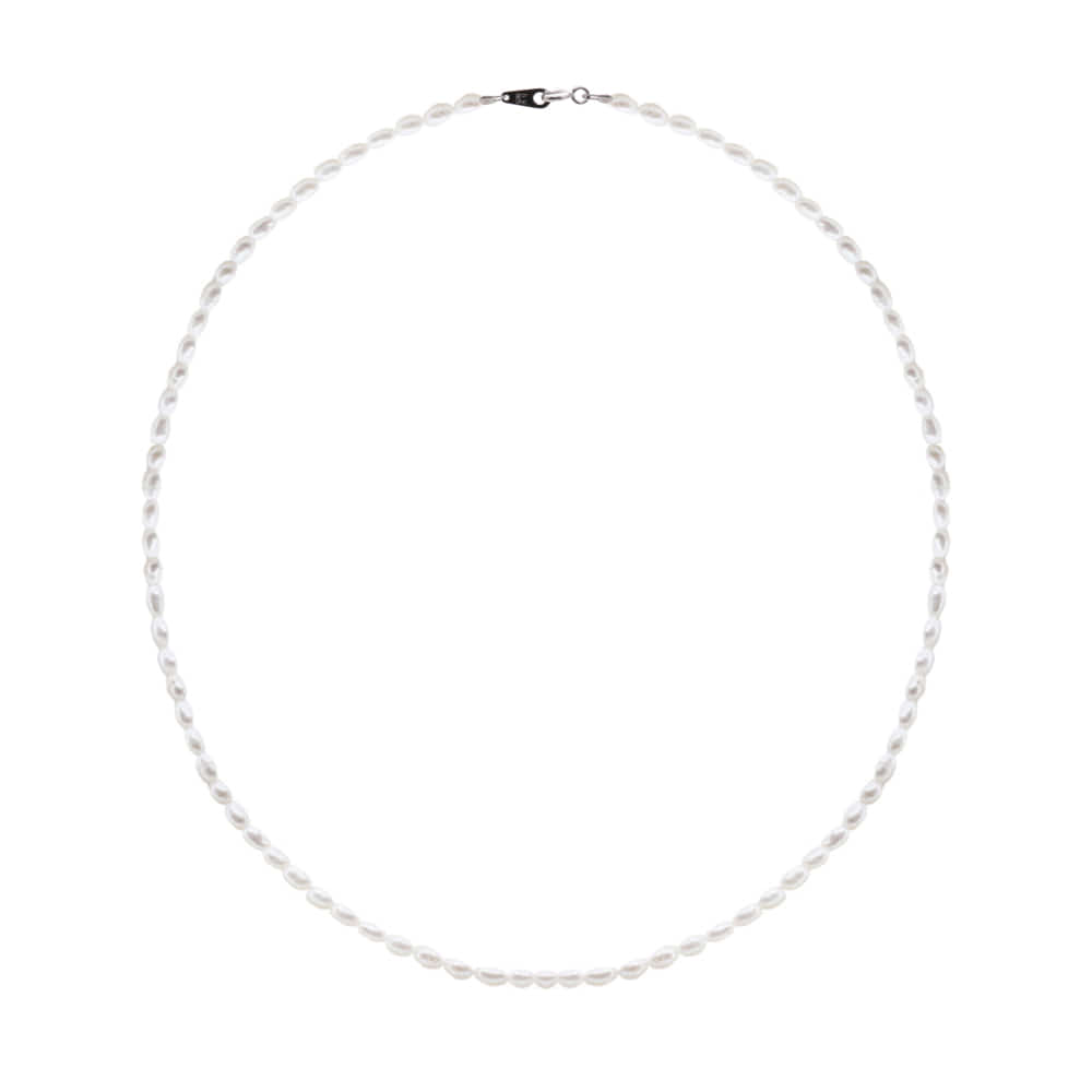[92.5 Silver]Mini Pearl Line Necklace-L