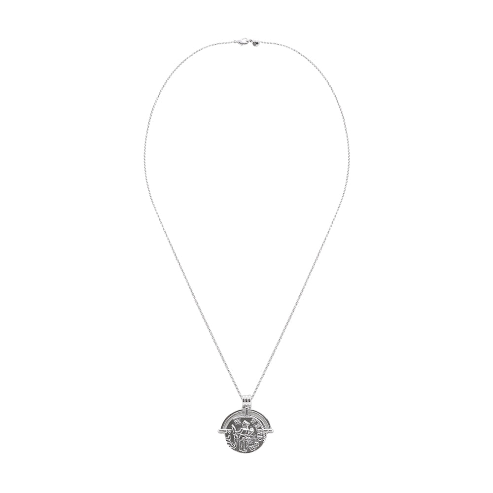 Silver Coin Long Necklace