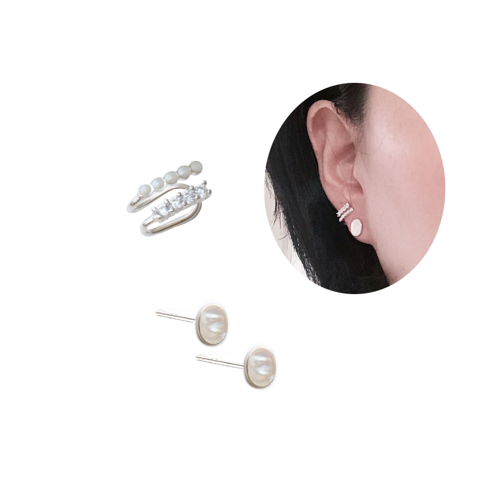 Mother of Pearl 92.5 Silver Earrings & Earcuff Set