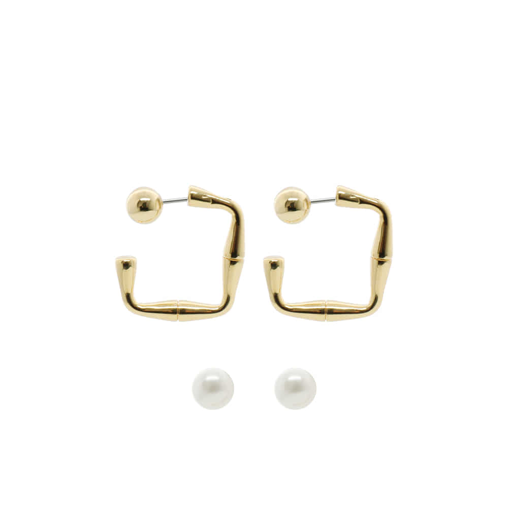 Riverse Open Square Hoop Earrings-ball