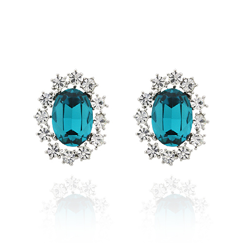 Blue Zircon Crystal Post Earrings