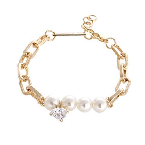 Diamond & Pearl Chain Bracelet[GOLD]