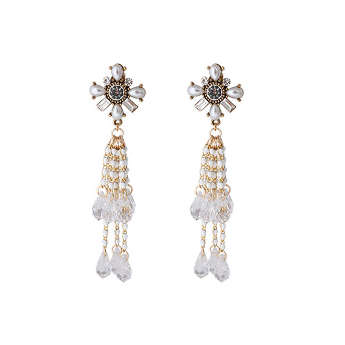 Crystal Flower Beads Ball Earrings