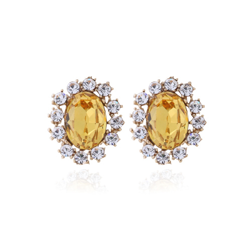 Yellow Crystal Post Earrings