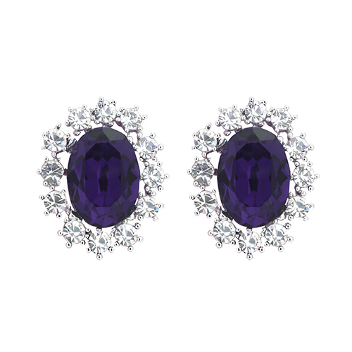 Violet Crystal Post Earrings