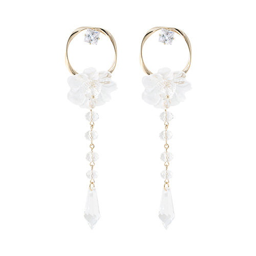 Gold Circle Crystal Flower Drop Earrings