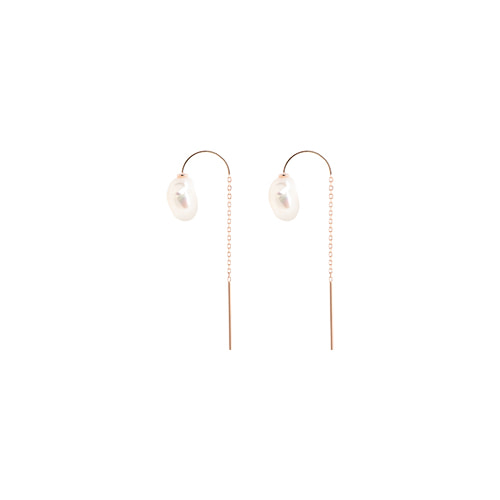 [92.5 Silver] Fresh-Water Pearl & Rosegold Semicircle Chain Earrings
