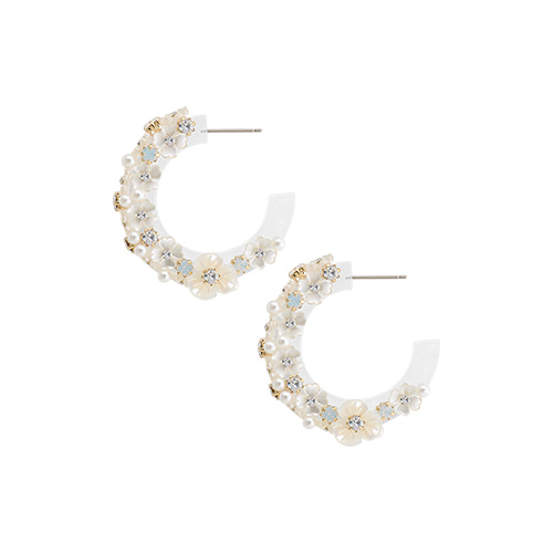 Pearly Flower Circle Post Earrings