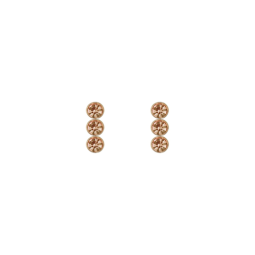 Triple Champagne Stone Post Earrings