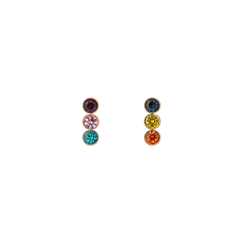 Triple Mixed Multi Color Stone Post Earrings
