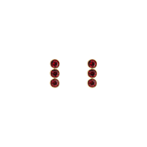Triple Red Stone Post Earrings