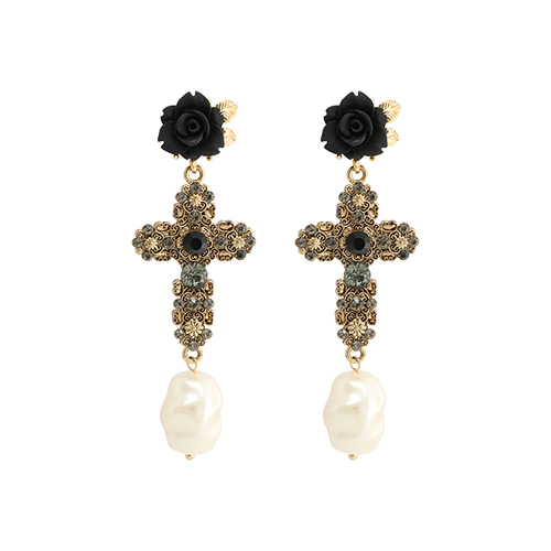 Black Rose With Antique Cross Drop Earrings