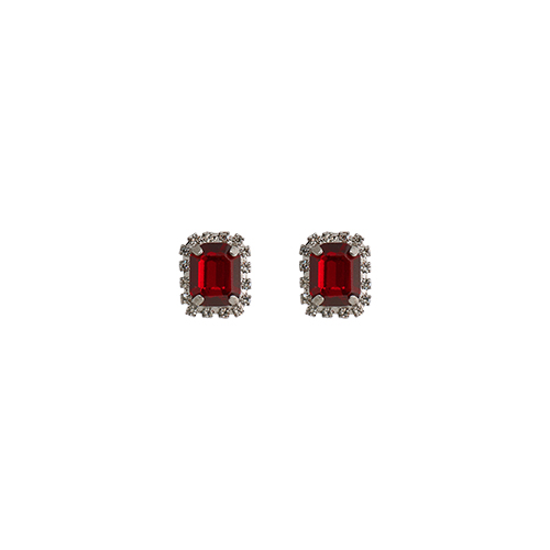 Little Square Red Post Earrings
