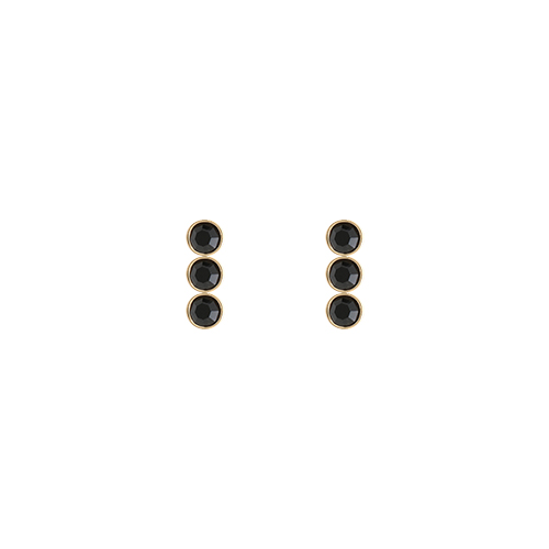 Triple Black Stone Post Earrings
