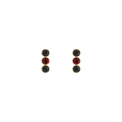Triple Black Red Stone Post Earrings