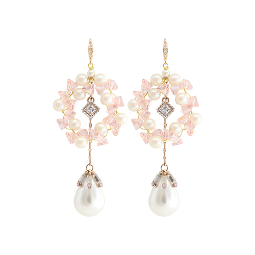 Pink Crystal Garland Pearl Drop Earrings