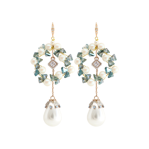 Green Crystal Garland Pearl Drop Earrings