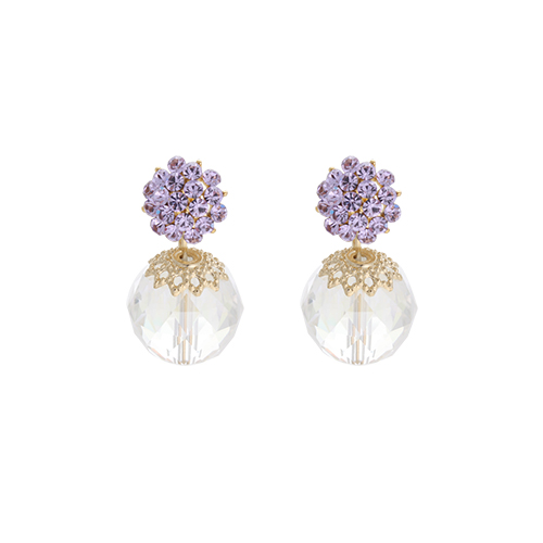Purple Blossom Cubic Drop Earrings