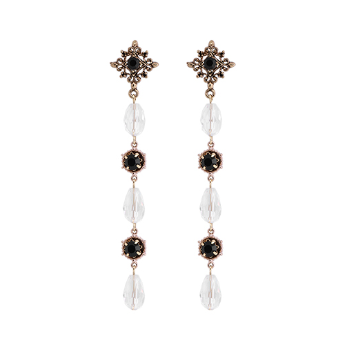 Antique Clear Crystal Drop Earrings