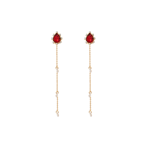 Red Weeping Princess Earrings