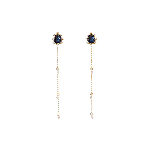 Navy Weeping Princess Earrings