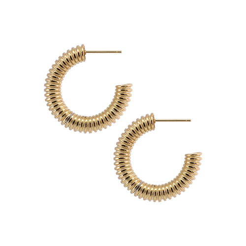 [All 92.5 Silver] Gold Spring Shape Circle Earrings