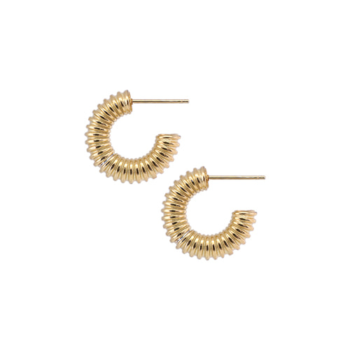 [All 92.5 Silver] Gold Spring Shape Circle Earrings - Small