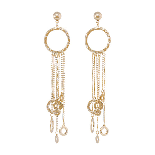 Gold Circle Chain Drop Earrings