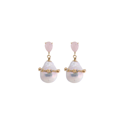 Light Pink Gemstone Baroque Pearl Drop Earrings