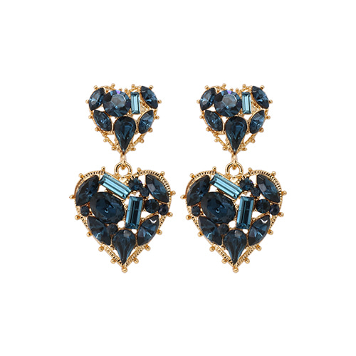 Navy Stone Double Heart Drop Earrings