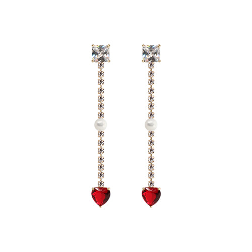 Red Heart Crystal Gold Line Drop Earrings