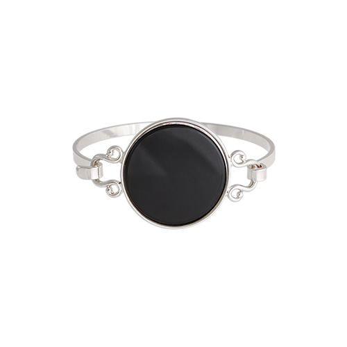 Black Onyx Well Round Silver Bangle