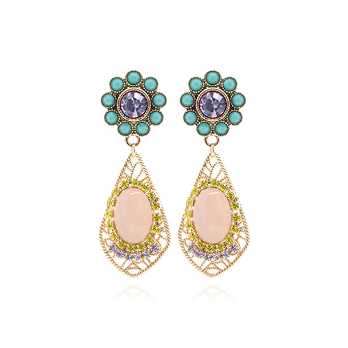 Turquoise Color Flower Pink Drop Earrings