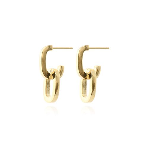[All 92.5 Silver] Gold Chain Shape Post Earrings