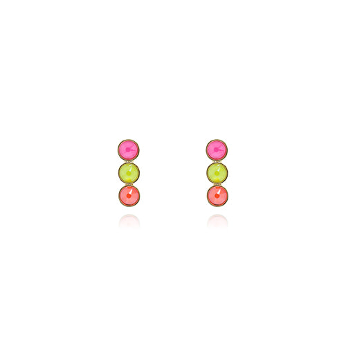 Triple Neon Multi Stone Post Earrings