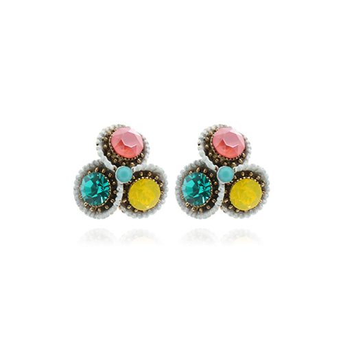 Antique Triple Spring Color Stone Earrings