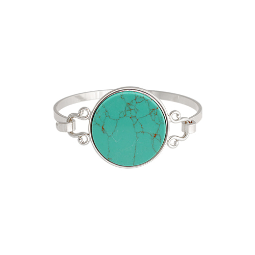 Turquoise Well Round Silver Bangle