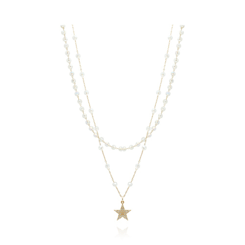 Gold Star With Crystal Necklace